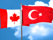 Canada flag with Turkey flag, 3D rendering